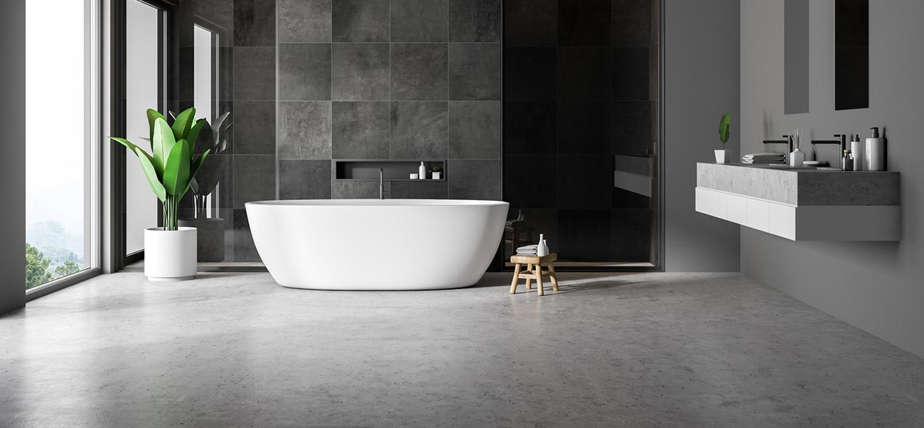 Modernes Badezimmer mit fugenlosem Boden